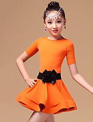 olcso -Latin tánc / Gyermek táncruhák Ruhák Lány Edzés / Teljesítmény Poliészter / Spandex / Pleuche Pántlika / szalag / Fodros Rövid ujjú Ruha / Öv