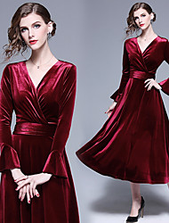 cheap -A-Line V Neck Midi Velvet Bridesmaid Dress with Ruching by LAN TING Express