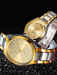 Недорогие -Для пары Нарядные часы золотые часы Кварцевый согласование Его и ее Нержавеющая сталь Золотистый 30 m Защита от влаги Новый дизайн Повседневные часы Аналоговый На каждый день Мода -