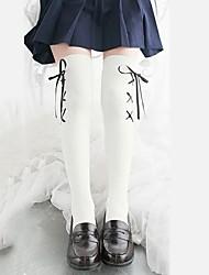 54e005f40fb Cosplay Women s Adults  Princess Lolita Tights Girly Socks   Long Stockings  Thigh High Socks Black White Black Lines   Waves Velour Lolita Accessories  ...
