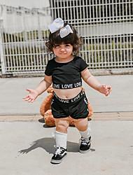 お買い得  -赤ちゃん 女の子 活発的 / ベーシック プリント プリント 半袖 レギュラー レギュラー コットン アンサンブル ブラック