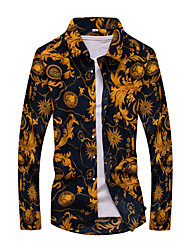 Недорогие -Муж. С принтом Рубашка Хлопок Геометрический принт / Контрастных цветов Темно синий