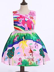 Χαμηλού Κόστους -Παιδιά Κοριτσίστικα χαριτωμένο στυλ Κινούμενα σχέδια Αμάνικο Πάνω από το Γόνατο Πολυεστέρας Φόρεμα Ανθισμένο Ροζ