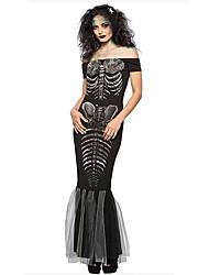 113c2077 Skelet / Kranium Kjoler Cosplay Kostumer Voksne Dame Kjoler Halloween  Halloween Karneval Maskerade Festival / Højtider Polyester Sort Karneval  Kostume ...