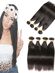 abordables -Lot de 4 Cheveux Brésiliens Droit Cheveux Vierges Naturel Cheveux Naturel Rémy Tissages de cheveux humains Parfums pour Fête du thé Bundle cheveux 8-28 pouce Couleur naturelle Tissages de cheveux