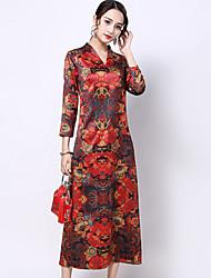 Недорогие -Взрослые Жен. В китайском стиле Оса-Waisted Платья Cheongsam Назначение Помолвка Девичник Шелк Midi Платье