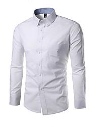 billige -Bomull Klassisk krage Skjorte Herre - Ensfarget