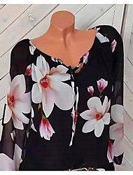 billige -Skjorte Dame - Blomstret, Trykt mønster