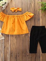 levne -Dítě Dívčí Aktivní / Základní Jednobarevné Mašle Krátký rukáv Standardní Bavlna / Spandex Sady oblečení Žlutá