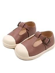 halpa -Tyttöjen Kengät PU Kevät Comfort / Ensikengät Tasapohjakengät varten Vauvat Musta / Pinkki / Manteli