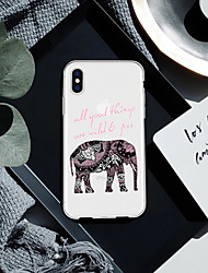 baratos -Capinha Para Apple iPhone XR / iPhone XS Max Estampada Capa traseira Palavra / Frase / Animal / Elefante Macia TPU para iPhone XS / iPhone XR / iPhone XS Max