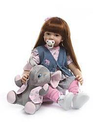Недорогие -NPKCOLLECTION NPK DOLL Куклы реборн Девочки 24 дюймовый Винил - как живой Подарок Искусственная имплантация Коричневые глаза Детские Девочки Игрушки Подарок
