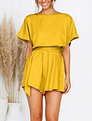 ราคาถูก -สำหรับผู้หญิง Street Chic ใบไม้สีเขียวที่มีสามแฉก ขาว สีเหลือง Romper, สีพื้น M L XL