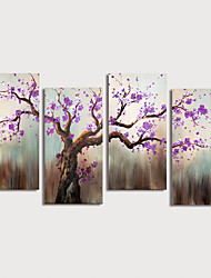cheap -Oil Painting Hand Painted - Floral / Botanical Modern Stretched Canvas / Four Panels