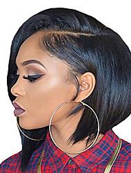 Недорогие -Натуральные волосы 6x13 Тип замка Фронтальная часть Лента спереди Парик Стрижка боб Короткий Боб Глубокое разделение Kardashian стиль Бразильские волосы Прямой Шелковисто-прямые Парик 150