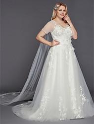 Недорогие -А-силуэт В пол Тюль Свадебные платья Made-to-Measure с Аппликации от LAN TING BRIDE®