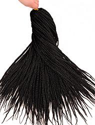 Недорогие -Волосы для кос Прямой Вязание крючком для волос / Синтетические экстензии Искусственные волосы 1 ед. косы волос Черный 18 дюймовый 46 см