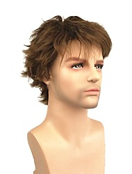 cheap -Synthetic Wig Straight Light Brown Pixie Cut Dark Brown / Medium Auburn 130% Density Synthetic Hair 4 inch Men's Synthetic Light Brown Wig Short Capless