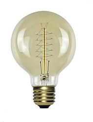billige -1pc 60 W E26 / E27 G80 1800-2200 k Gjennomsiktig Kropp Glødende Vintage Edison lyspære 220-240 V