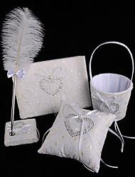 halpa -Wedding Guestbook / Pen Set / Ring Pillow Kanssa Sulilla / Pitsi Pitsi / Punomattomat