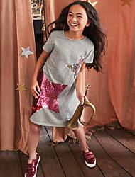 Χαμηλού Κόστους -Παιδιά Κοριτσίστικα Γλυκός Κινούμενα σχέδια Κοντομάνικο Πολυεστέρας Φόρεμα Ανθισμένο Ροζ