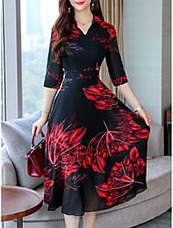 저렴한 -여성용 우아함 칼집 드레스 - 플로럴, 프린트 맥시