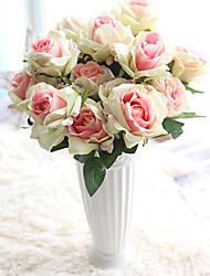 abordables -Flores Artificiales 1 Rama Clásico Europeo Ramos de Flores para Boda Rosas Flores eternas Flor de Mesa