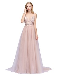 4fbc581e063df A-Line Plunging Neck Sweep / Brush Train Tulle Dress with Beading / Sequin  / Appliques by LAN TING Express