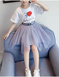 baratos -Infantil / Bébé Para Meninas Básico / Moda de Rua Floral Com Transparência / Estampado Manga Curta Algodão / Poliéster Conjunto Preto