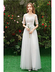 cheap -A-Line Off Shoulder Long Length Tulle Bridesmaid Dress with Appliques by LAN TING Express
