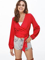 abordables -Mujer Algodón Camiseta, Escote en Pico Un Color
