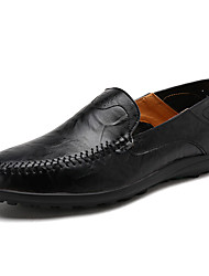 cheap -Men's Leather Shoes Cowhide Spring & Summer / Fall & Winter Loafers & Slip-Ons Black / Yellow / Brown