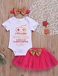 voordelige -Baby Meisjes Standaard / Street chic Print Strik / Netstof / Print Korte mouw Normaal Normaal Katoen Kledingset Fuchsia
