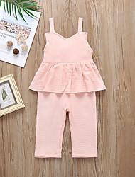 voordelige -Baby Meisjes Actief / Standaard Effen Ruche Mouwloos Katoen Overall & Jumpsuit Blozend Roze