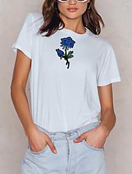 hesapli -Kadın tişörtü - çiçek desenli yuvarlak boyun