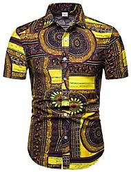 Недорогие -Муж. С принтом Большие размеры - Рубашка Хлопок Цветочный принт / Геометрический принт / Контрастных цветов Желтый