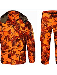 Недорогие -Муж. Куртка и брюки для охоты камуфляж На открытом воздухе С защитой от ветра Дышащий Износоустойчивый Наборы одежды Весна Осень Хлопок 100% полиэстер Охота, Рыбалка, Походы / туризм / спелеология