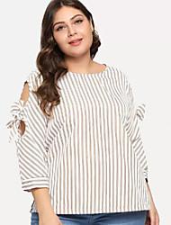 billige -kvinners slanke t-skjorte - stripet rund hals