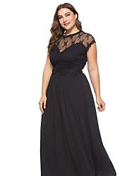 저렴한 -여성용 정교한 디테일 우아함 스윙 드레스 - 솔리드, 레이스 자수 장식 레이스 트림 맥시