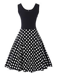 preiswerte -Frauen über dem Knie eine Linie Kleid weiß schwarz S m L xl