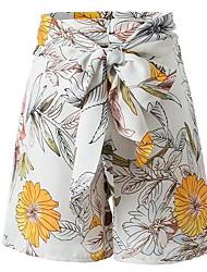 cheap -Women's Street chic Shorts Pants - Floral White