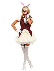 billige -Rabbit Mascot påskeharen Kjoler Hodeplagg Ører Voksne Dame Cosplay Påske Festival / høytid Blonde Polyester Rød Karneval Kostumer Blonder