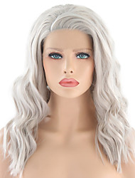 cheap -Synthetic Lace Front Wig Wavy Silver Side Part Sliver White Synthetic Hair 16 inch Women's Adjustable / Heat Resistant / Women Silver Wig Medium Length Lace Front