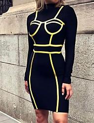 رخيصةأون -المرأة فوق الركبة اللباس bodycon الوقوف الأسود ق م ل