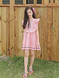 Χαμηλού Κόστους -Παιδιά Κοριτσίστικα Γλυκός Φλοράλ Στάμπα Αμάνικο Ασύμμετρο Βαμβάκι / Λινό Φόρεμα Ανθισμένο Ροζ