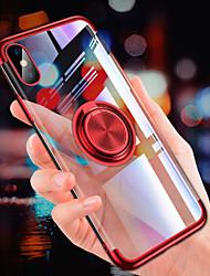 Недорогие -Кейс для Назначение Apple iPhone XS / iPhone XR / iPhone XS Max Покрытие / Кольца-держатели / Ультратонкий Кейс на заднюю панель Однотонный Мягкий ТПУ