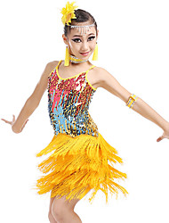 044550cad Latin Dance / Kids' Dancewear Outfits Girls' Training / Performance Nylon /  Sequined Tassel / Paillette Sleeveless Hair Jewelry / 1 Pair of Earrings /  Dress