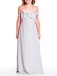 abordables -Trapèze Bretelles Fines Longueur Sol Mousseline de soie Robe de Demoiselle d'Honneur Junior  avec Volants par LAN TING BRIDE®