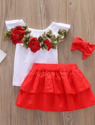 tanie -Brzdąc Dla dziewczynek Aktywny Solidne kolory Pofałdowany Bez rękawów Regularny Krótkie Bawełna / Spandeks Komplet odzieży Biały