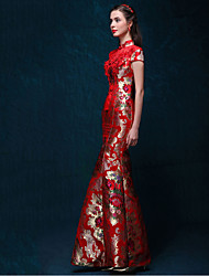 e0389c035fe Adults  Women s Chinese Style Wasp-Waisted Dress Chinese Style Cheongsam  Qipao For Engagement Party Bridal Shower Tulle Silk Cotton Long Length Dress